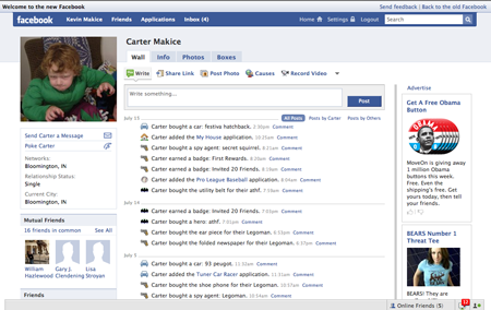 Carter has a Facebook Profile