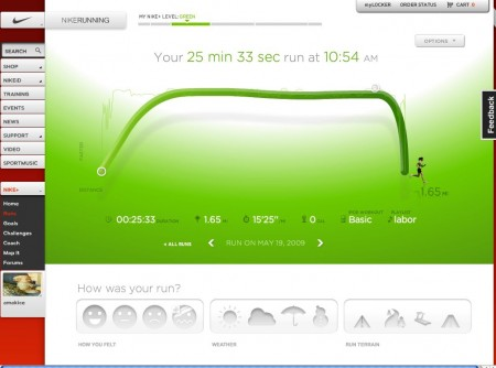 Nike Plus graph for my first post partum run